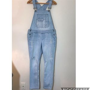 Blue Spice Distressed Light wash overalls coverall